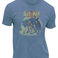 Batman & Robin In The Spotlight Slate Blue Mens T-shirt - Batman - | TV Store Online