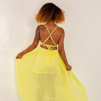 Toni Yellow Cut-Out Maxi Dress