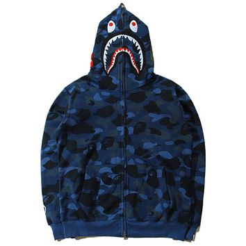 BAPE AAPE New fashion autumn and winter shark hat hooded camouflage couple keep warm coat Blue