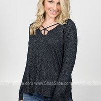 Stone Black Strappy Top