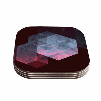 "Cafelab ""Dramatic Geometry"" Black Pink Geometric Coasters (Set of 4)"