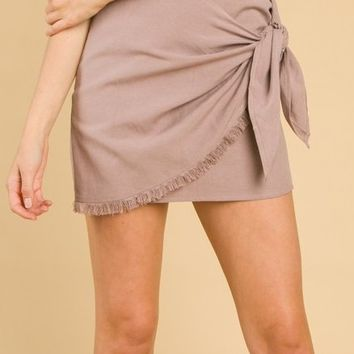 High Waisted Fringed Wrap Skirt (7IS3555RB-4)