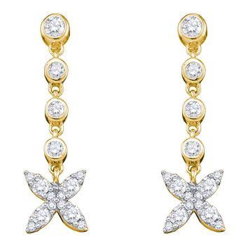 10kt Yellow Gold Womens Round Diamond Flower Cluster Dangle Earrings 3/4 Cttw