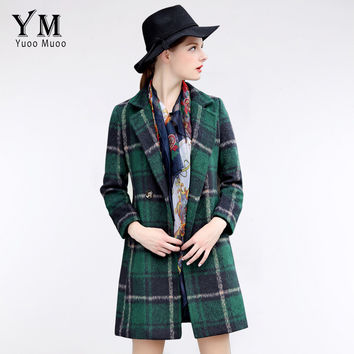 YuooMuoo Classical Plaid Wool Coat British Style Double Breasted Women Woolen Coat Slim Vintage Jacket Female Green Coat Sale