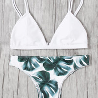 Jungle Print Double Straps Bikini SetFor Women-romwe