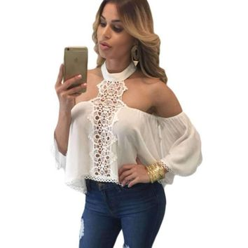 Fashion Loose Lace Chocker Women Crop Top