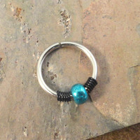 Metallic Turquoise Beaded Cartilage Hoop Earring Septum Tragus Nose Ring Upper Ear Piercing 20 Gauge