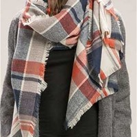 Look by M Plaid Blanket Scarf in Indigo MSF1581-INDIGO
