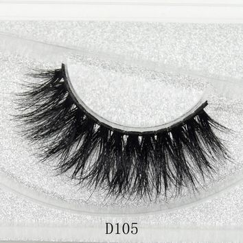 3D Real Mink Black Lashes Thick False Eyelashes Fake Eye Extensions Makeup Tools Beauty Glitter Packing D105