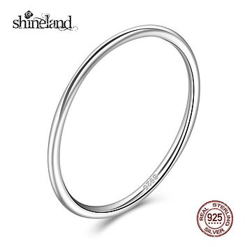 Shineland Fashion 925 Sterling Silver Light Simple Rings Round Finger Rings For Women Men Wedding Engagement Fine Jewelry Gift