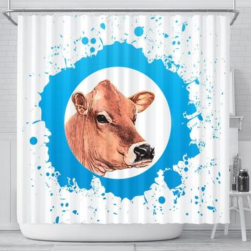 Jersey Cow Print Shower Curtain-Free Shipping