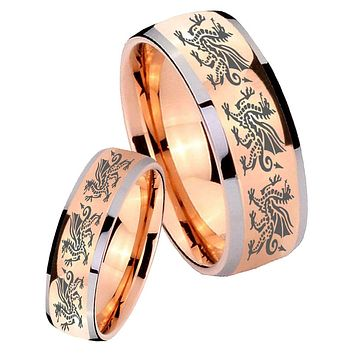 His Hers Rose Gold Dome Multiple Dragon Two Tone Tungsten Wedding Rings Set