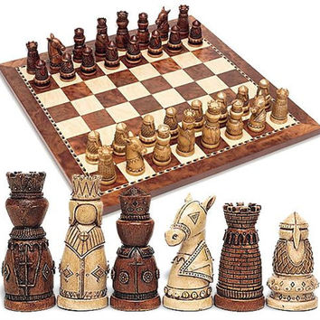 Medieval Chess Set Wood (Board & Pieces) 3.5H - 5312