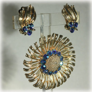 Starburst Brooch, Brooch Earring Set, Lisner Jewelry, Blue Rhinestone, Gold Starburst, Flower Brooch, Fireworks