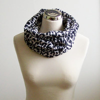 Cheetah Print Infinity Scarf ,  Black and White Animal Print Eternity Scarf