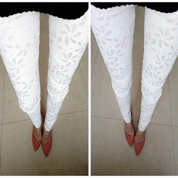 New Sexy Women Slim Embroidered Lace Stretch Leggings Pencil Pants Skinny Women Leggings Black White Fashion Capris Trousers