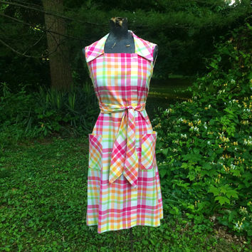60s Vintage Pastel Cotton Dress in Pink Yellow Green  small medium
