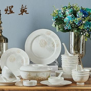 Korean Style Ceramics Kitchen Dinnerware 56 PCs 45% Bone China Wedding/Gift Dishes Chinese Porcelain qymy01