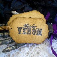 Coffee Stained Grunge Spider Venom Potion Gift Tags Halloween