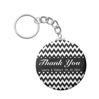 Customizable Black and White Chevron Wedding Favor Keychain