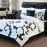 9 Piece Queen Duchess Black and White Comforter Set:Amazon:Home & Kitchen