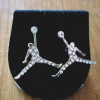 MICHAEL JORDAN JUMPMAN LOGO SILVER DIAMOND STUD EARRINGS NEW