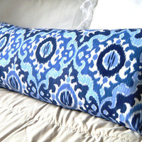 Bohemian Bedding, Bright Monaco Blue and Dusk Blue Ikat Long Pillow Bohemian Bedroom 33 x14 inches