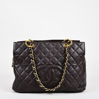 "Chanel Brown Caviar Leather Quilted ""Timeless Shopping Tote"" Bag"