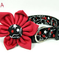 Black   Floral Print Dog Collars with Flower set  (Mini,X-Small,Small,Medium ,Large or X-Large Size)- Adjustable