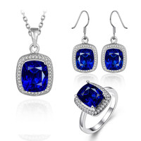 Lab gem fashion jewelry sets big blue color stone wedding sets women pendant necklace, dangle earring and ring