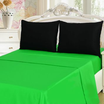 Tache 3-4 Pieces Lime Green & Black Bed sheet Set