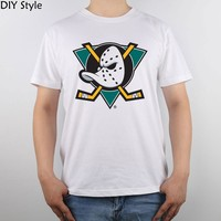 Mighty Ducks Of Anaheim Logo t-shirt Top Pure Cotton Men T Shirt