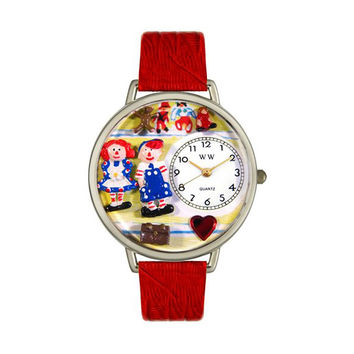 Whimsical Watches Designed Painted Raggedy Ann & Andy Navy Blue Leather And Silvertone Watch