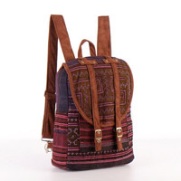 Small Exotic Purple Backpack Vintage Traditional Hand Stitched Textile