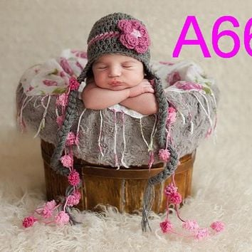 free shipping,10pcs/lot New Baby Beanie handmade crochet Hat with Cute Flowers Christmas Gift for Girl's Flower Beanie hat