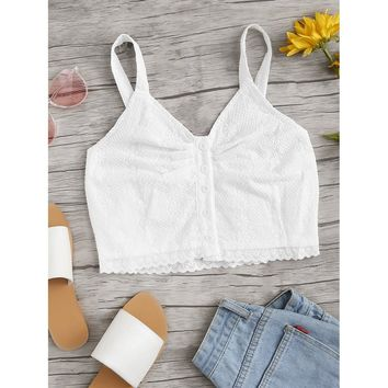 Eyelet Embroidered Button Front Crop Top