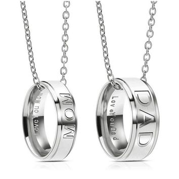 Mom Or Dad Stainless Steel Necklace