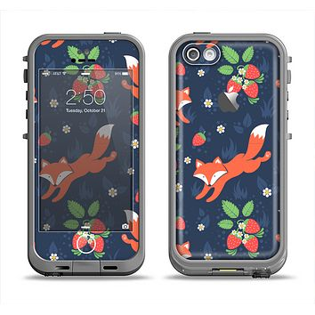 The Running Orange & Navy Vector Fox Pattern Apple iPhone 5c LifeProof Fre Case Skin Set