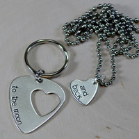 Guitar pick couples keychain and necklace with love to the moon and back in sterling silver