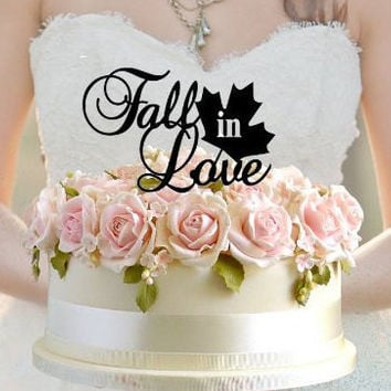 Fast Shipping Fall in Love Wedding Shower Cake Topper Fall Autumn Wedding ct1129