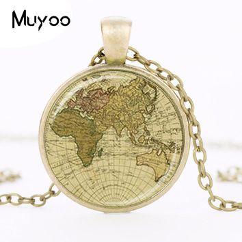 Vintage Old World Map Globe Pendant Necklace