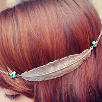 silver feather head piece, chain headband, feather headband, metal headband, unique headband