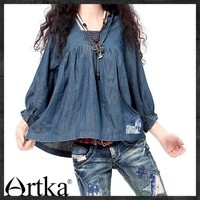 Artka*loose comfy pleats denim blouse SN13435C