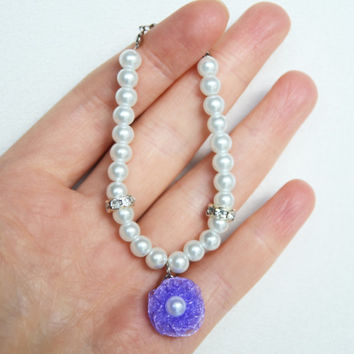 flower girl jewelry pearly bracelet glass ivory or white pearl lilac lavender organza flower wedding jewelry