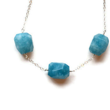 Natural Aquamarine Necklace by Gewgaws & Gimcracks on Etsy