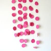 Hot Pink Circle Felt Garland - home decor, felt bunting, pink garland banner, birthday decorations