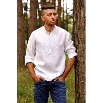 Men's white Vyshyvanka with white/silver embroidery
