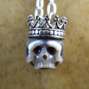 Carved Pearl Skull Necklace with Sterling Silver Crown - Grey Pearl Skull Pendant - Halloween Necklace - Pearl Necklace - Unique Gift