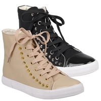 Brinley Co Womens Studded High Top Sneakers