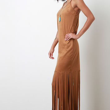 Suede Fringe Maxi Dress